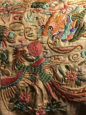 Vintage 30's Canton Piano Shawl Type Embroidered Scarf Dragon W/ Flowers Chinese