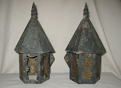 Pair of Antique Copper Craftsman Mission Art Crafts Porch Wall Lanterns C. 1910