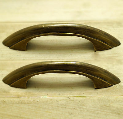 "4.72"" Lot 2 pcs Vintage Retro Western Cabinet Solid Brass Drawer Handle Pulls"
