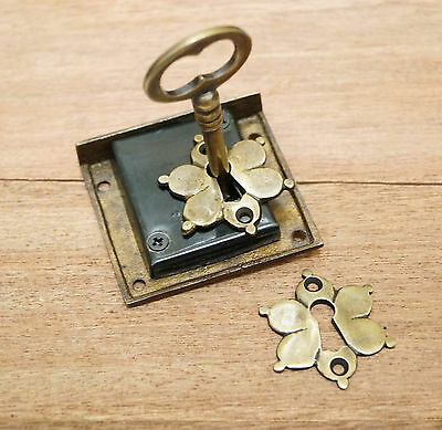 SET Antique Vintage KEY LOCK and SKELETON Key with Antique FLOWER KEY HOLE Plate