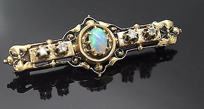 Antique Jelly Opal Genuine Diamonds Accent Solid 14K Yellow Gold Brooch / Pin