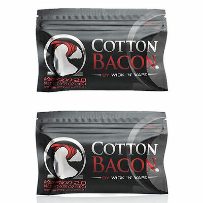 2 Packs Cotton Bacon V2 By Wick N Vape Organic Cotton Wicking Material Tasteless