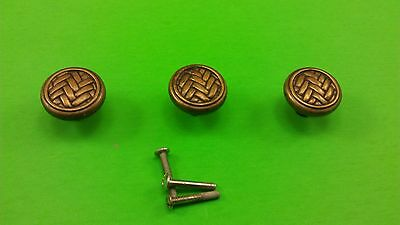 3 Antique Vintage Bronze Cast Dresser Drawer Handles