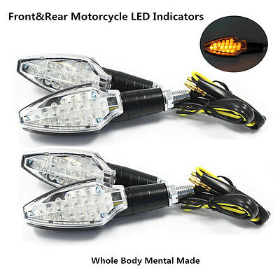 4x LED Amber Motorcycle Turn Signal Indicator Light Universal Metal Casing 12V
