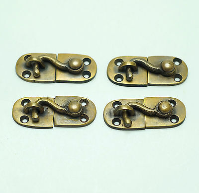 "1.96"" Lot of 4 pcs BOX Drawer Cabinet Door LATCH Joint Hook Vintage Brass Lock"