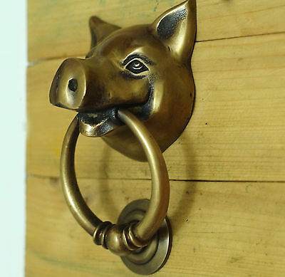 5.11 Inches VINTAGE PIG Head Piggy front Brass Door KNOCKER with Pull Knocker