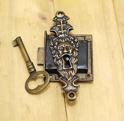 "Set 4.52"" Vtg Escutcheon SENTINEL Old Man Mouth KEY HOLE with Skeleton Key Lock"