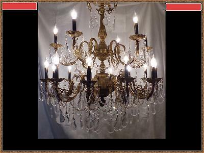 Amazing Vintage Antique French Solid Heavy  Brass & Crystal Chandelier 18 Light
