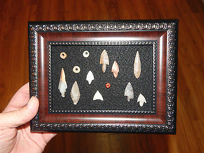 Framed Neolithic Artifacts #2 (pre-1600) - Stone Beads - Authentic Arrowheads