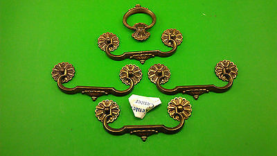 4 Antique Vintage Oblong & 1 Round Jumbo Bronze Dresser Drawer Handles