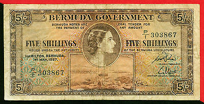 Bermuda  1957  =  5 Shillings     World  paper money  currency bank note   (P/1)