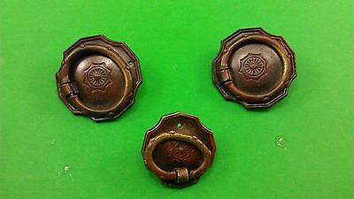 3 ANTIQUE VINTAGE (END OF 19th CENTRURY) DODECAHEDRAL BRONZE DRESSER HANDLES