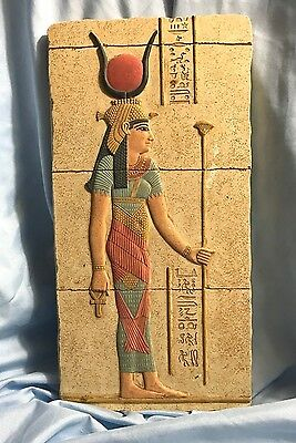 Isis Holding Staff Egyptian Wall Relief like Tomb Fragrment 22H E-037SP-RED