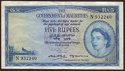 Mauritius  5 Rupees  ND (1954)