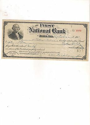 1911 The First National Bank of ERIE, ILLINOIS bank check
