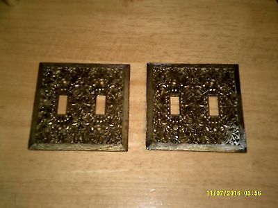 Pair Antique Vintage Ornate Solid Brass Light Switch Cover Plates