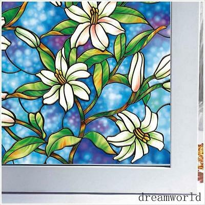 Painting No-Glue Static Cling Stained Glass Deco Window Film Orchid Flower Decal