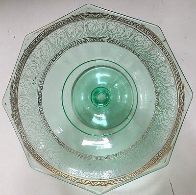 "Vintage Green Glass Compote w Gold Edging Depression Glass? 9.5"" Diameter"