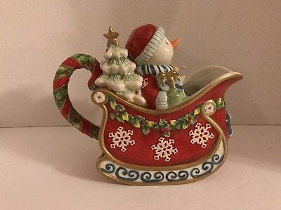 Fitz And Floyd Christmas Snowman 619/134 Serving Pitcher 2005