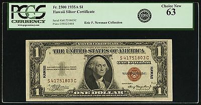 Fr 2300 1935A Hawaii $1 Uncirculated UNC PCGS 63 EPN Collection
