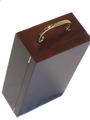 Wooden Twin Wine Box with Gold Fittings for 2 Bottles 750ml