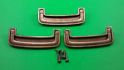3 Antique Vintage Brass Dresser Drawer Handles