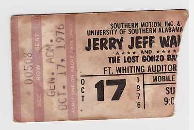 Jerry Jeff Walker & Lost Gonzo Band - 10-17-76 -Mobile, AL concert ticket stub