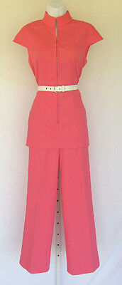 VINTAGE 1960s MOD LEE MAR PAGEANT PANTS SUIT MAGENTA PINK SALMON POLY RIBBED