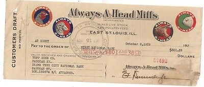 1929 ALWAYS-A-HEAD MILLS East St. Louis Illinois bank check