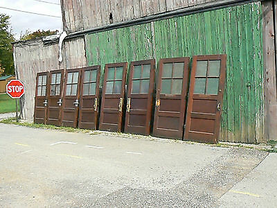 "Antique 1923 LOT 8 36"" School Door 38"" X 85"" R.O. Jamb Woodwork Florentine Glass"