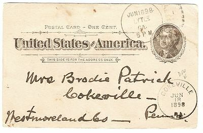 1898 SPANISH-AMERICAN WAR #UX12_SOLDIER via LYTLE,GA HOSPITAL CHAPLAIN to MOTHER