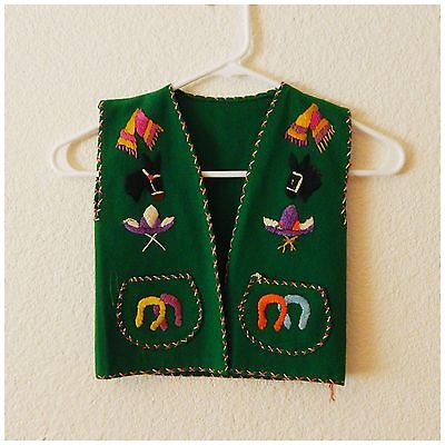 Vintage Childrens Emerald Green Felt and Embroidered Mexican Ethnic Kids Vest