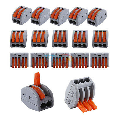 20x 2/3/5 Way Reusable Spring Lever Terminal Block Electric Cable Connector Wire