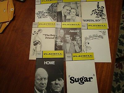 8 Vintage Playbills – mostly 1970's Broadway Plays & Musicals - 2 opening night
