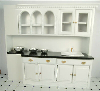 Dollhouse Furniture Kitchen Cabinets with Sink Miniature Kitchen Wall Cabinets