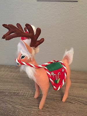 """Annalee  9"""" 2007 Peppermint Saddle Reindeer Retired NWT"""