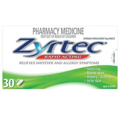 ~ Zyrtec Rapid Acting 30 Tablets - Hayfever Allergyrunny Nose Watery Itchy Eyes
