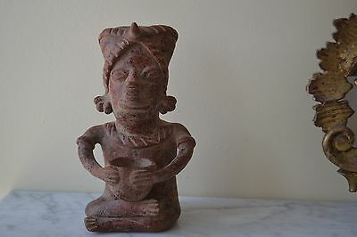 "Antique Pre Columbian Art Pottery Figurine Statue 8.5""h Man Holding Bowl"