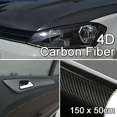 150CM 4D Gloss Black Carbon Fibre Fiber Vinyl Car Wrap Sticker Air Release Film