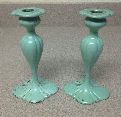 Gorgeous Shabby Chic Chippy Paint Barbour Silverplate Candlesticks (KP56)