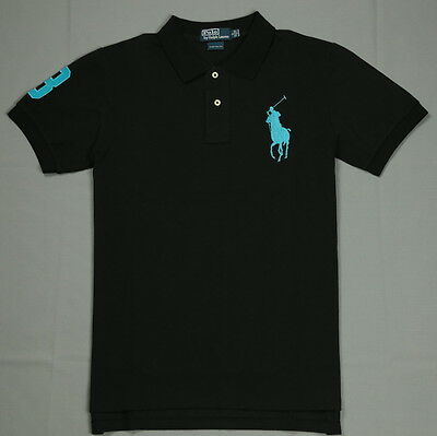 New Ralph Lauren Short Sleeve Polo Shirt Custom Fit Men Black with Blue Big Pony