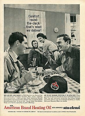 1961 American Standard Brand Heating Oil Delivery Man Print Ad