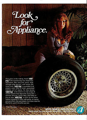 1972 Appliance Industries Wire Mag Wheels Sexy Girl Print Ad