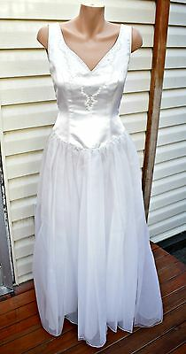 Vintage Deidra Rhodes Satin & Soft Tulle Wedding Dress - Size 8/10