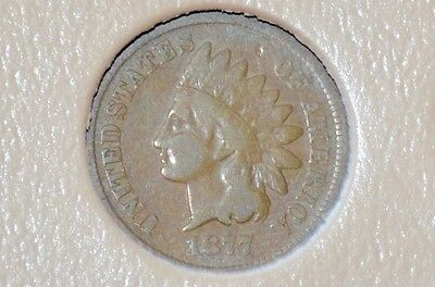 ������ 1877 INDIAN HEAD CENT VG/FINE - Beautiful RARE KEY DATE Coin - ������