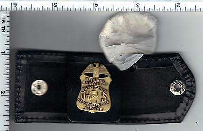 Leather Key Wallet with an antique FBI Mini Badge inside (was sold at Quantico)
