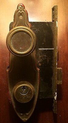 Antique 1800's Brass Door Lock With Key Hole plates and Door Knobs