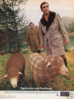 1970 Print Ad of Pendleton Dyed-In-The-Wool Coats