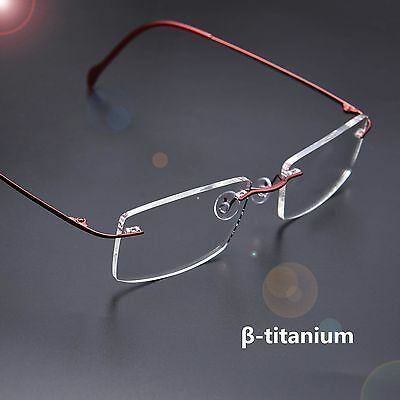 Luxury Pure β-Titanium Rimless Eyeglasses Frame Clear Lens Optical Glasses RX