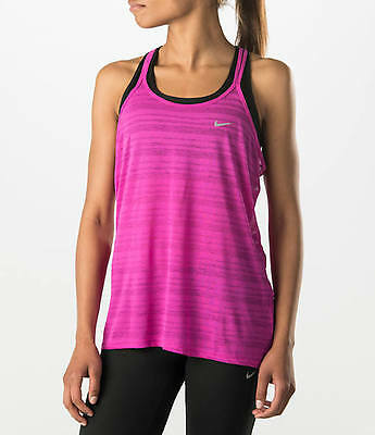New Nike Women's Top Dri-Fit Cool Breeze Strappy Running Tank/Hot Pink/gym/vest